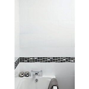 Wickes Cosmic Glass Stone & Metal Mosaic Tile - 300 x 300mm