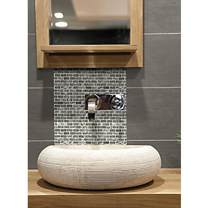Wickes House of Mosaics Grey Brick Mosaic Tile Sheet - 305 x 305mm