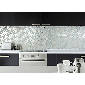 Wickes Lunar Glass & Metal Modular Mosaic Tile - 300 x 300mm