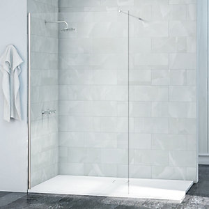 Nexa By Merlyn 8mm Chrome Frameless Wet Room Shower Screen Only - Various Sizes Available