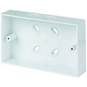 Wickes 2 Gang Pattress Box & Adaptor - White 32mm