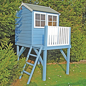 Shire 4 x 4 ft Bunny & Platform Elevated Wooden Playhouse with Balcony