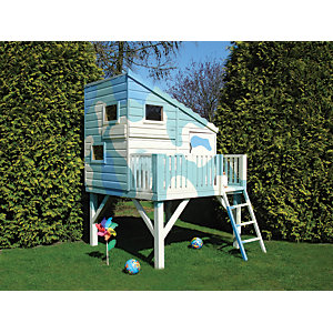 Shire 6 x 6ft Command Post & Platform Elevated Wooden Playhouse with Balcony