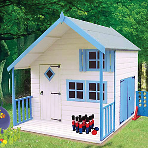 Shire 7 x 6ft Crib & Bunk Wooden Playhouse with Double Side Door & Veranda