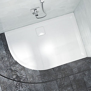 Nex By Merlyn 25mm Offset Quadrant Low Level Left Hand White Shower Tray - 1200 x 900mm