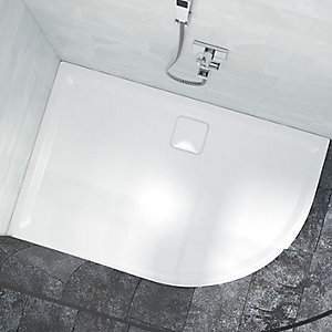 Nexa By Merlyn Offset Quadrant Low Level Right Hand White Shower Tray - 1200 x 900mm