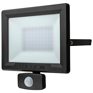 Luceco Eco PIR Floodlight IP54 Black 50W
