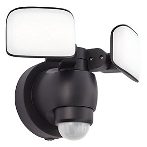 Saxby Omega Black Abs Plastic & Frosted Mains Security Light
