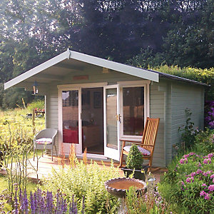 Shire 12 x 8 ft Gisburn Double Door Log Cabin with Overhang