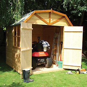 Shire Barn Curved Roof Double Door Garden Shed 7 x 7
