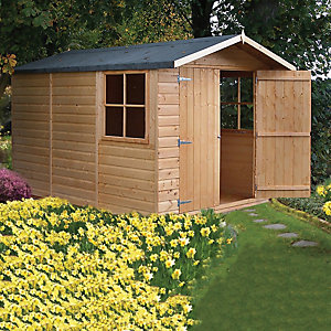 Shire Double Door Timber Shiplap Apex Shed - 7 x 10 ft