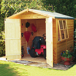 Shire Double Door Timber Shiplap Apex Shed - 7 x 7 ft