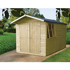 Shire Modular Timber Double Door Shiplap Shed - 10 x 7 ft