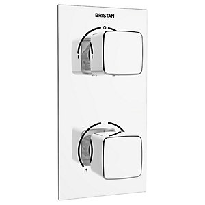 Bristan Cobalt Recessed Thermostatic Dual Control Shower Valve with Integral Diverter - Chrome