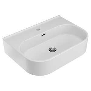 Wickes Siena White 600mm Bathroom Basin with 1 Taphole
