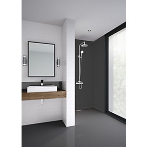Mermaid Composite Brushed Black Horizontal Tile Single Shower Panel - 2440 x 1220mm