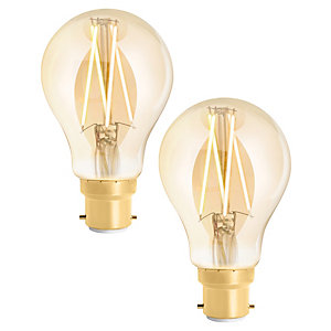 4lite WiZ Connected LED SMART B22 Filament Light Bulb Amber 2 Pack