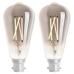 4lite WiZ Connected LED SMART B22 Filament Light Bulb Smoky 2 Pack