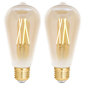 4lite WiZ Connected LED SMART E27 Filament Light Bulb Amber 2 Pack