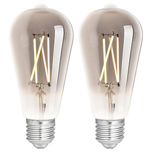 4lite WiZ Connected LED SMART E27 Filament Light Bulb Smoky 2 Pack