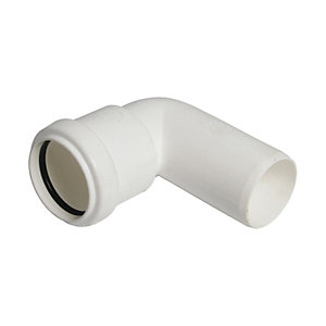FloPlast WP27W Push-fit Waste 90 Deg Conversion Bend - White 40mm