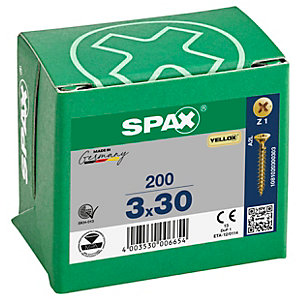 Spax PZ 30mm Countersunk Yellox Screws - Pack of 200