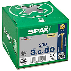 Spax PZ 50mm Countersunk Yellox Screws - Pack of 200