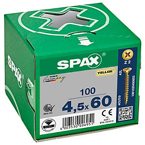 Spax PZ 60mm Countersunk Yellox Screws - Pack of 100