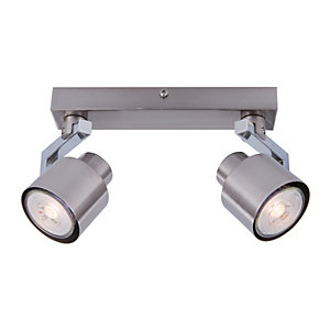 Wickes Boulevard LED Brushed Chrome 2 Bar Spotlight