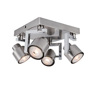 Wickes Boulevard LED Brushed Chrome 4 Plate Spotlight