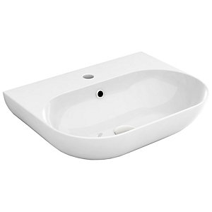 Wickes Teramo 1 Tap Hole Wall Hung Bathroom Basin - 550mm