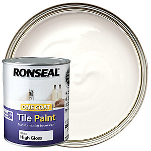 Ronseal One Coat Tile Paint - Gloss White 750ml