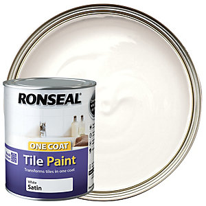 Ronseal One Coat Tile Paint - Satin White 750ml