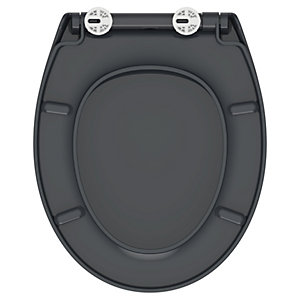 Wickes Grey Plastic Toilet Seat - Soft Close