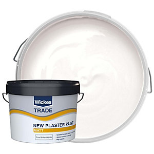 Wickes Trade Emulsion Paint for New Plaster - Pure Brilliant White 10L