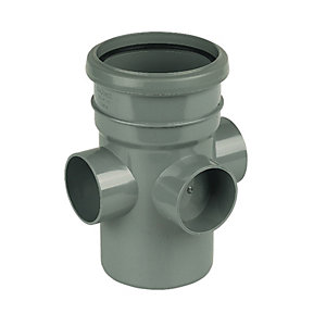 FloPlast 110mm Soil Boss Pipe Socket/Spigot - Grey