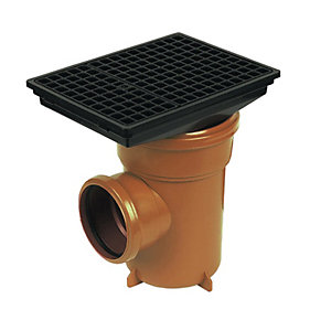 FloPlast 110mm Underground Bottle Gully Rectangular Lid - Terracotta