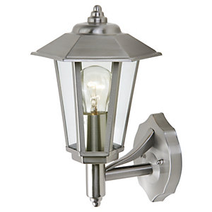 Lutec Grosvenor Stainless Steel 6 Sided Wall Lantern