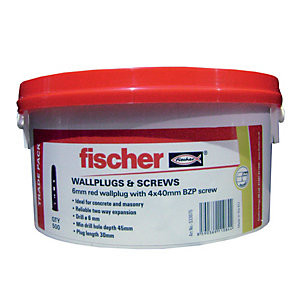 Fischer Wall Plugs Red 6mm W/ Screws Tub 500 Pack