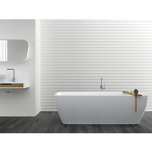 Wickes Boutique Ezra White Satin Ceramic Wall Tile - 900 x 300mm