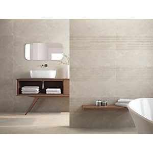 Wickes Boutique Paloma Grey Structure Ceramic Wall Tile - 900 x 300mm
