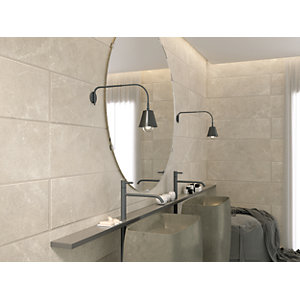 Wickes Boutique Paloma Silver Ceramic Wall Tile  - 900 x 300mm