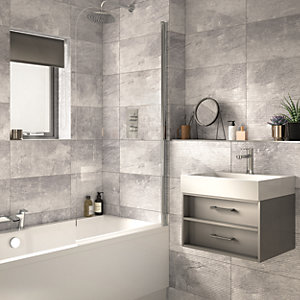 Wickes Manhattan Light Grey Ceramic Wall Tile - 500 x 250mm
