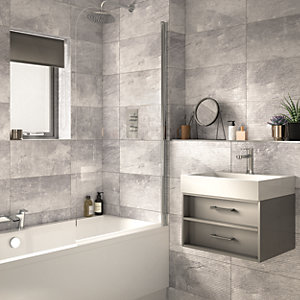 Wickes Manhattan Light Grey Structure Ceramic Wall Tile - 500 x 250mm