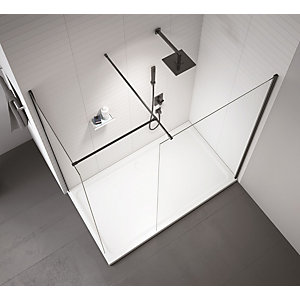 Nexa By Merlyn 8mm Frameless Black Showerwall Only - 2015mm x 1000mm