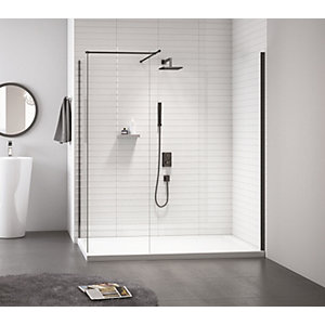 Nexa By Merlyn 8mm Frameless Black Showerwall Only - 700mm