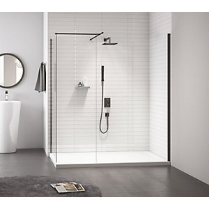 Nexa By Merlyn 8mm Frameless Black Swivel Showerwall Panel - 2015 x 300mm