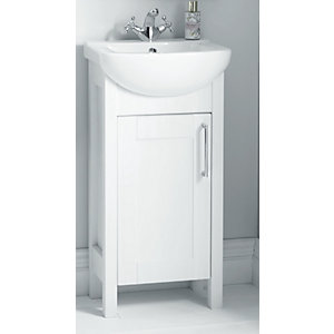 Wickes Frontera White Gloss Freestanding Vanity Unit with Basin