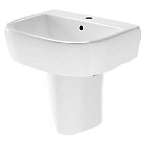 Wickes Galeria Ceramic 1 Tap Hole Basin with Semi Pedestal