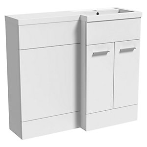 Wickes Geneva White L Shaped Right Hand Freestanding Vanity & Toilet Pan Unit with Basin
